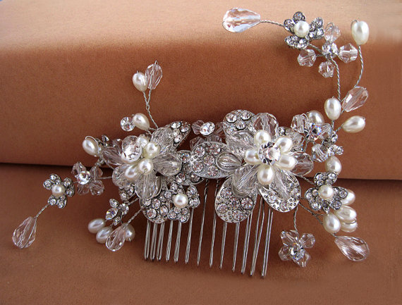 Wedding - Swarovski crystal  floral hair comb, Crystal pearl Swarovski bridal hair comb,Bridal headpiece,Bridal hair accessories, Wedding headpiece,