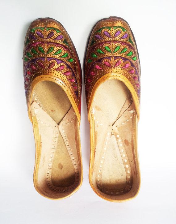 زفاف - US SIZE 9/Women Ballet Flats/Royal Brown Embroidered Women Shoes/Brown Wedding  Shoes/Leather Shoes/Royal Styled Jooties