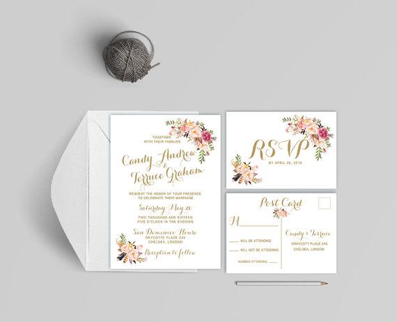 Hochzeit - Bhoemian wedding invitation printable, Printable wedding invitation coral and peach, Boho wedding invitation, The Mia Collection
