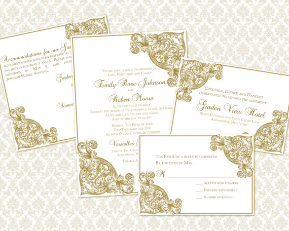 Hochzeit - DIY Wedding Invitation Template Set (5x7 invitation & enclosure cards)