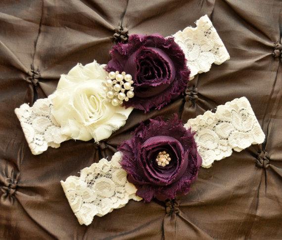زفاف - Garter Wedding, Garter Bridal - Ivory Lace Garter, Keepsake Garter, Toss Garter, Shabby Chiffon Rosette Ivory Plum Wedding Garter Set