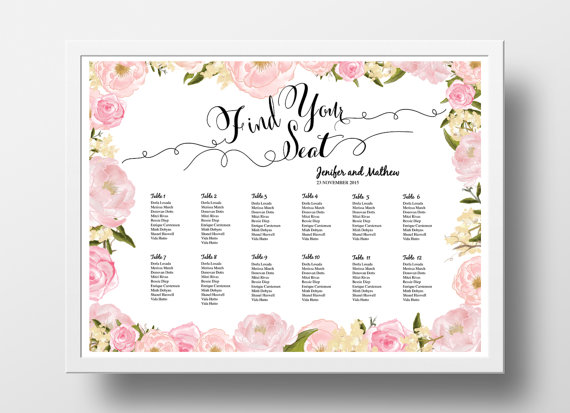 Invitation  Printable Seating Chart Poster Template   Weddbook