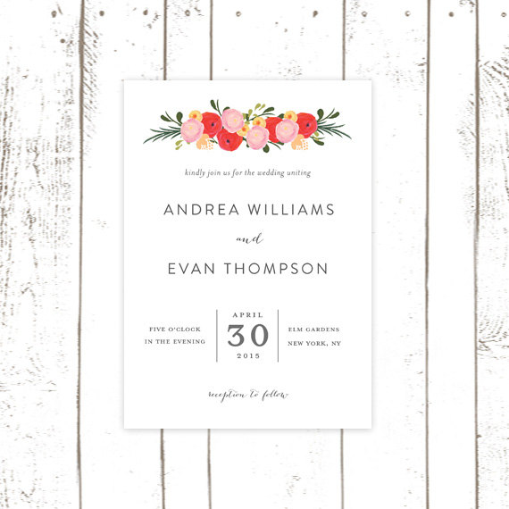 Hochzeit - Flower Wedding Invitation, Pink and Red Invitations with Modern Type, Classic Wedding Invitations