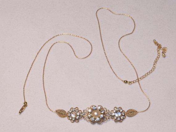Wedding - Bridal Belt Wedding Gold Sash Leafs Bridal Rhinestone Flower Sash Swarovski Crystals Belt Vintage Style Bridal Sash Wedding Hip Belt Flowers