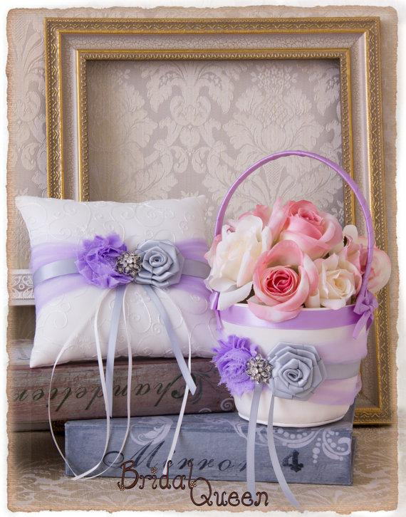 Wedding - Orchid Flower Girl Basket, Orchid Silver  Wedding Ring Bearer Pillow, Wedding Ring Pillow, Wedding Pillow, Flower Girl Basket, Ring Pillow