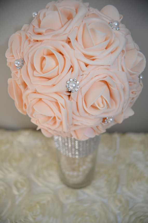 Peach Blush Bling Pearl Brooch Elegant Wedding Foam Flower Ball