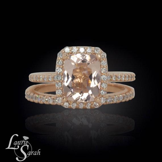 Wedding - Pink Morganite Halo Ring, Rose Gold Morganite Halo Ring, Morganite Engagement Ring, Diamond Halo Engagement Ring, Morganite Ring- LS3362