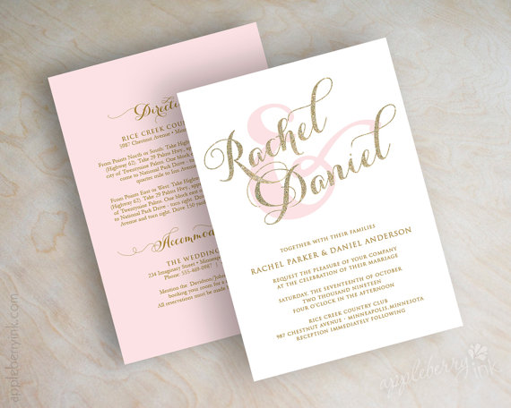 Wedding - Gold glitter sparkle wedding invitation, pink and gold wedding invitations, typography, script names, cursive wedding invitation, Sparkle