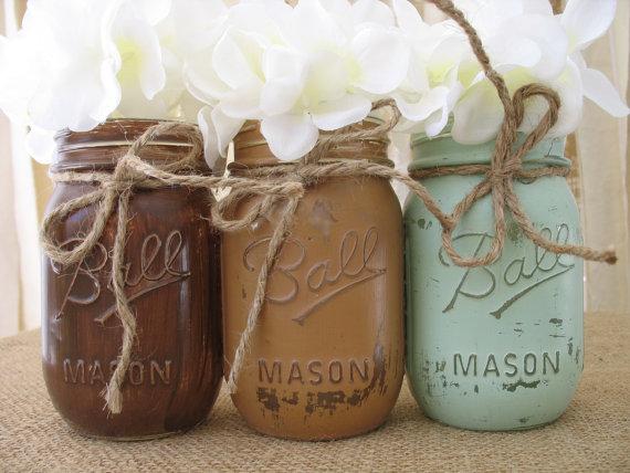 Wedding - Set of 3 Pint Mason Jars, Ball jars, Painted Mason Jars, Flower Vases, Rustic Wedding Centerpieces, Mint and Brown Mason Jars