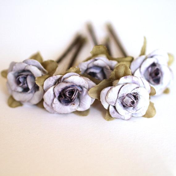 Mariage - Fairy Rose, Bridal Hair Accessories, Bohemian Wedding Hair Flower, Pale Purple Hair Flower, Brass Bobby Pins - Set of 5