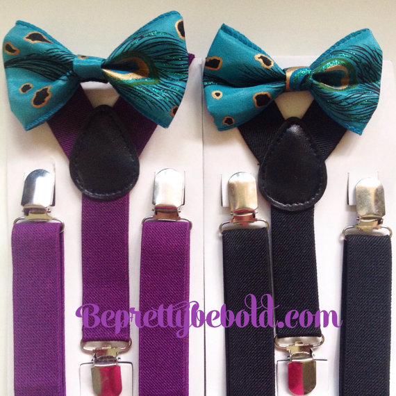 Mariage - Teal Bow tie suspenders Baby bowtie Plum Boys Bow ties Toddler Necktie Purple Men bowties Peacock Wedding Theme Ring Bearer Outfit Groomsmen