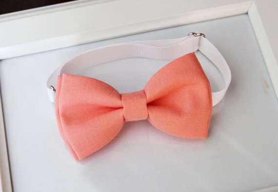 Mariage - Coral bow-tie for baby toddler teens adult - Adjustable neck-strap - Ring bearer bow tie - Wedding bow tie