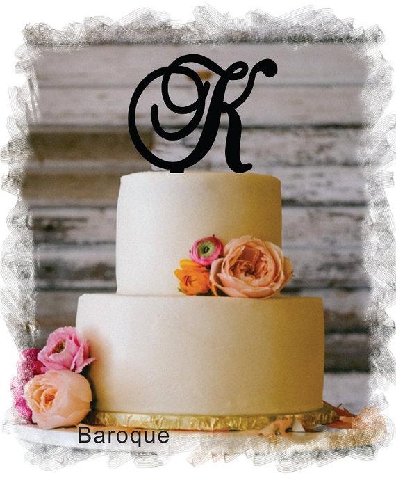 """زفاف - Monogram Wedding Cake Topper - 5""""or 6"""" Beautiful Single Monogram letter Cake Topper ( Special Custom Made Initial Wedding Topper )"""