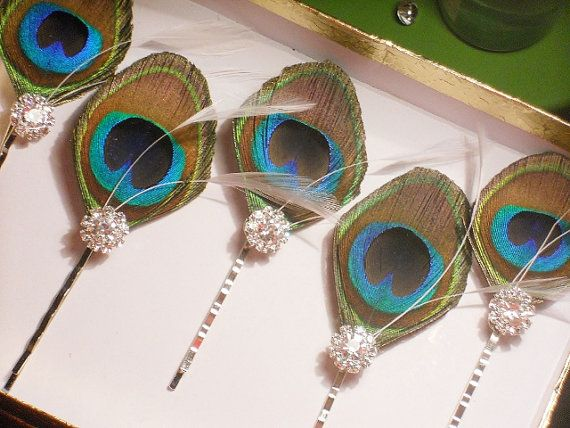 Hochzeit - Peacock Feather Hair Pins -- Five Peacock And Crystal Hair Accessories