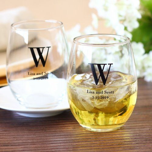 Personalized Bridal Stemless Wine Glasses 2325994 Weddbook