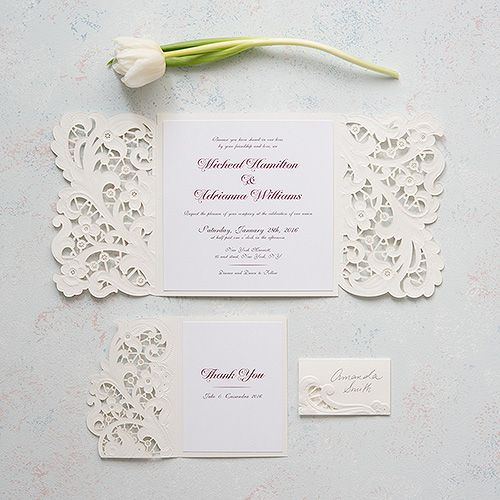 Wedding - Lace Opulence Laser Embossed Invitations With Personalization