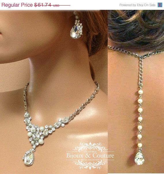 Mariage - Bridal Jewelry Set, Wedding Jewelry, Back Drop Necklace Earrings, Pearl Necklace, Crystal Necklace, Bridesmaid Jewelry Set