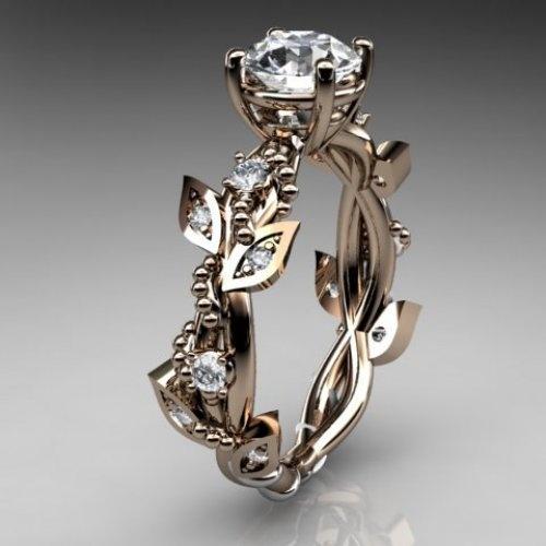 Wedding - 14kt Rose Gold Diamond Leaf,vine Wedding,engagement Ring, ADLR59