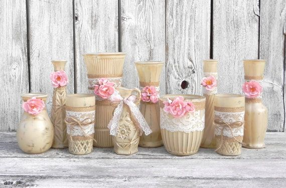 burlap and lace vases rustic beige and pink wedding. Black Bedroom Furniture Sets. Home Design Ideas