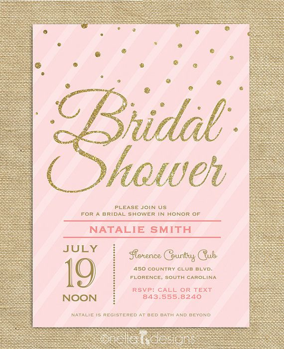 Blush Pink Gold Glitter Bridal Shower Invitation Confetti Stripes