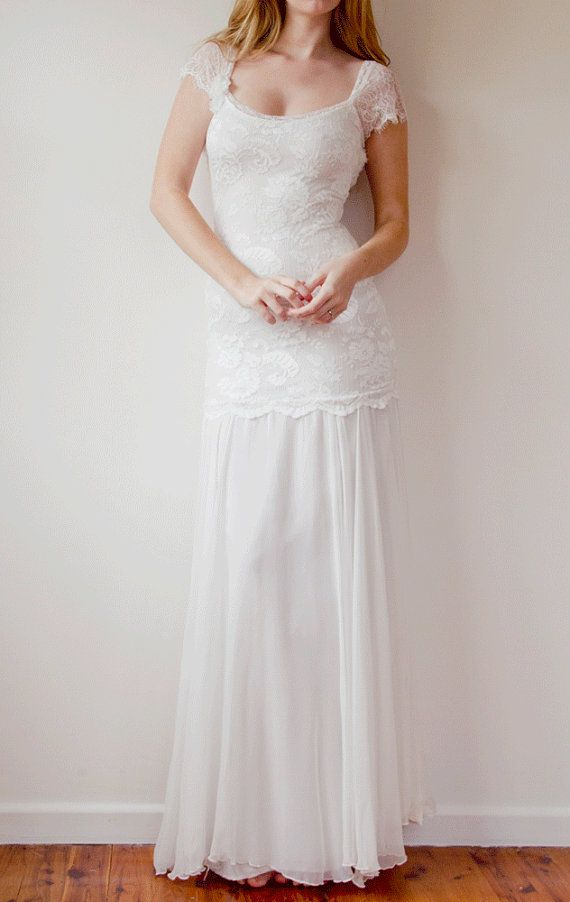 Hochzeit - Stunning Low Back Lace Wedding Dress With Lace Capped Sleeves And Dreamy Silk Chiffon Skirt