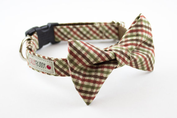 Свадьба - Autumn Mini Plaid Dog Bow Tie Collar