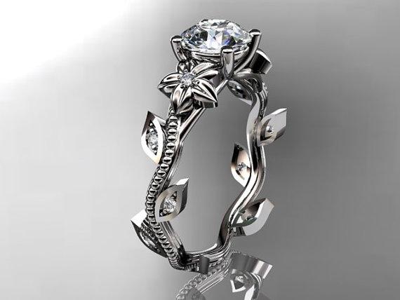 زفاف - 14kt  white  gold diamond leaf and vine wedding ring,engagement ring. ADLR151. nature inspired jewelry