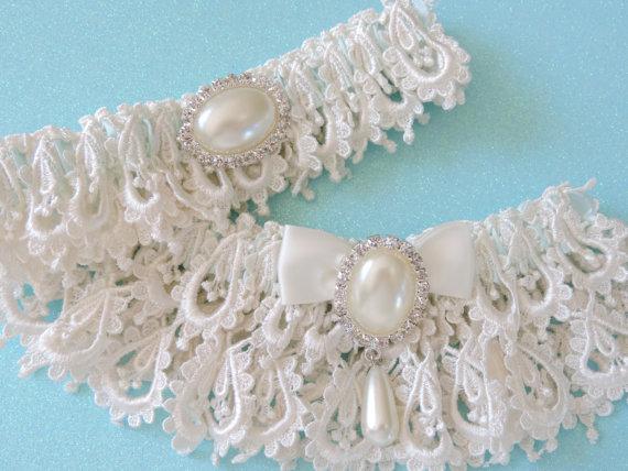 Mariage - Wedding Garter Set, Ivory Wedding Garter Set, Wedding Garter, Bridal Garter Set, Garter Set