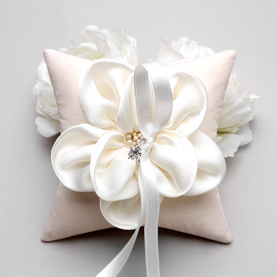 Ring Pillow, Wedding Ring Pillow, Bridal Ring Pillow, Ivory Ring ...