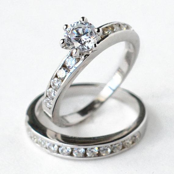 Mariage - cz ring, cz wedding ring, cz engagement ring, wedding ring set, ring set, cz wedding set, sterling silver ring, size 5 6 7 8 9 10- MC110801R