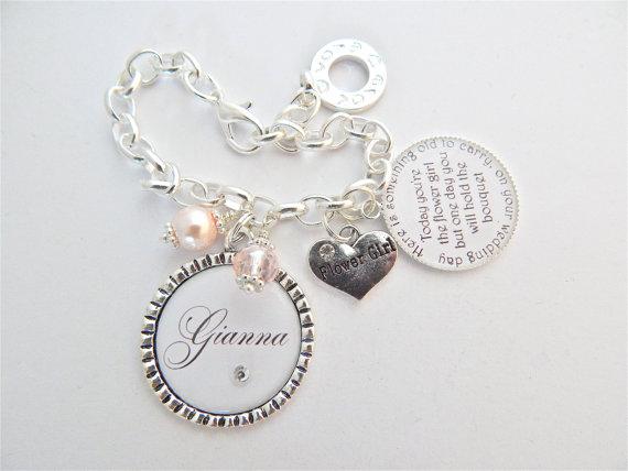 Свадьба - FLOWER GIRL Bracelet Children Jewelry Personalized Wedding PINK White Charm Bracelet Junior Bridesmaid Gift Childrens Gift Wedding Jewelry