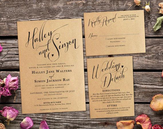 Rustic Kraft Wedding Invitation Suite Vintage Country Printable