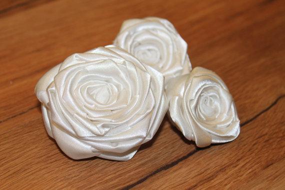 زفاف - Handmade Fabric Flowers, Ivory Flowers, Bridal Bouquet Flowers, Purple Flowers, Flowers, Accessories, Scrapbooking, DIY