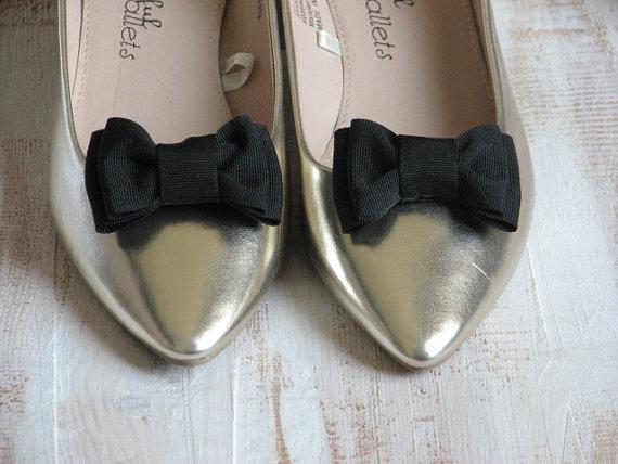 زفاف - Black shoe clips Black shoe bows Shoe clip Black shoes Gift idea Black shoe accessory Black bridesmaids gift Black bridal Black wedding clip