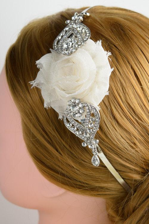 Mariage - Wedding Hair Accessory /white or Ivory cream Wedding Hair Flowers/Wedding Hair Piece / Bridal Hair Accessories / Bridesmaids Hair/ headband
