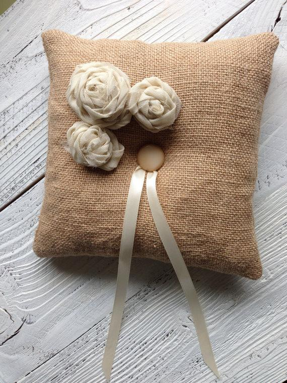 زفاف - Burlap Ring Bearer Pillow Wedding Pillow Burlap and Silk Chiffon Ring Pillow