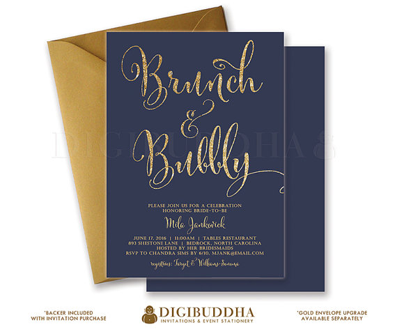 زفاف - BRUNCH & BUBBLY INVITATION Bridal Shower Invite Navy Blue and Gold Glitter Calligraphy Modern Classic Free Shipping or DiY Printable- Mila