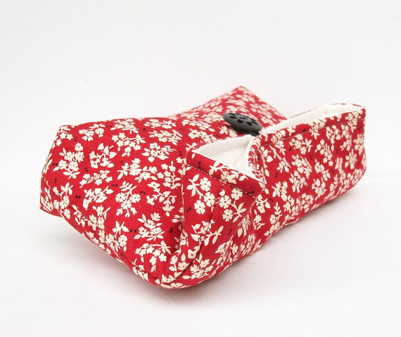 Mariage - Ivory Black and Red Clutch, Floral Clutch, Red Bridesmaid Gift, Bridesmaid Clutch, Makeup Bag, Wedding Accessory, Bridal Accessory