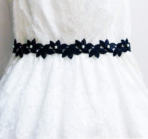 Hochzeit - Black Bridal Sash, Black Lace Bridal Sash, Pearl Bridal Sash, Lace Bridal Sash Belt, Wedding Sash, Lace Bridal Headband,Lace Bridal Head Tie