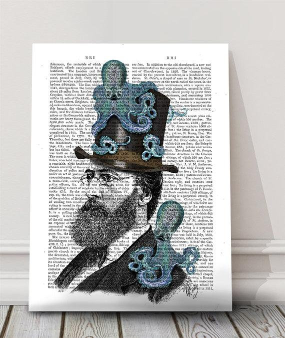 Doctor Octopus print - nautical print steampunk octopus funny office décor cute gift for boyfriend geek groomsmen gift funny art print