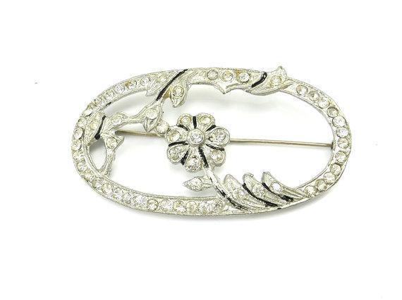 زفاف - Vintage Rhinestone Brooch Silver Art Deco Rhinestone Flower Pin Wedding Jewelry Sash Pin  Art Deco Jewelry Bride Jewelry