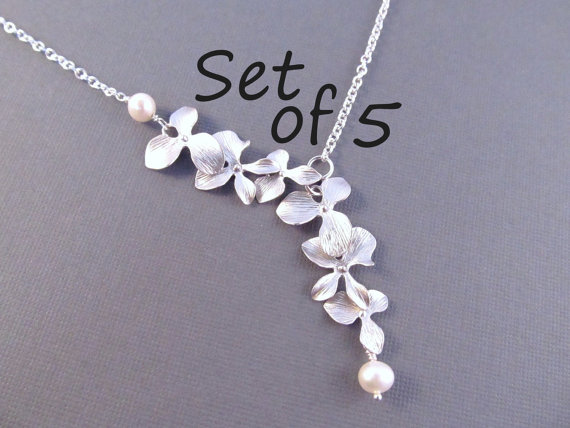 Pearl Bridesmaid Necklace Set Of 5 Silver Orchid Flowers With