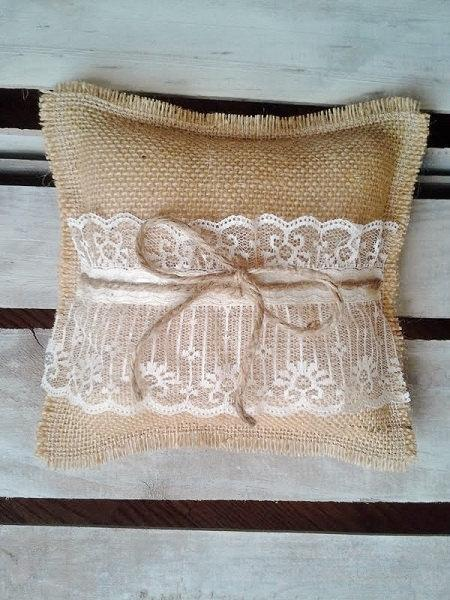 """Mariage - 8"""" x 8"""" Natural Burlap Ring Bearer Pillow w/ Lace & Jute Twine- Rustic/Country/Shabby Chic/Folk/Wedding"""