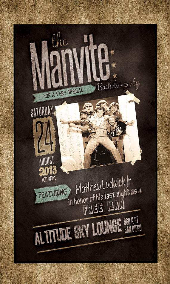Bachelor Birthday Party Grunge Chalk Manly Men Manvite Bucks Night – Stag Party Invitation
