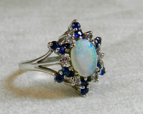 Opal Engagement Ring Blue Sapphire Halo