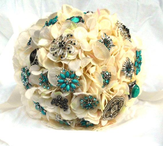 """Mariage - Brooch Bouquet, Blue, Ivory, Black, Wedding,  Bridal, 12"""", brooch wedding bouquet, Rhinestone, Pearl,  Fabric Flower Bouquet, weddings, glam"""