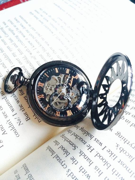 Wedding - Black Pocket Watch with Chain Personalized  Mechanical watch Groomsmen gift Father of the Groom