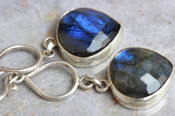 Labradorite Earrings Dangle Bezel Set Gemstone Sterling Silver Jewelry Gift Ideas