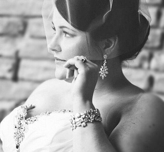 Mariage - Stunning Crystal Bridal Earrings, Bridal Jewelry, Crystal Wedding Earrings, Wedding Jewelry, Bride Earrings