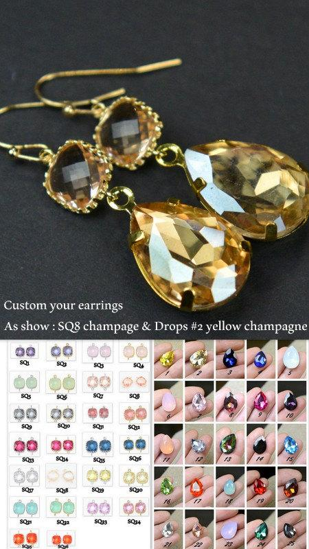 Wedding - Bridesmaid jewelry,Bridal Drop Earrings Wedding Dangle Earrings Bridal Jewelry  gold Peach champagne Tear Drop Earrings Bridesmaid Gift